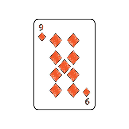 nine of diamonds or tiles french playing cards related icon icon image vector illustration design