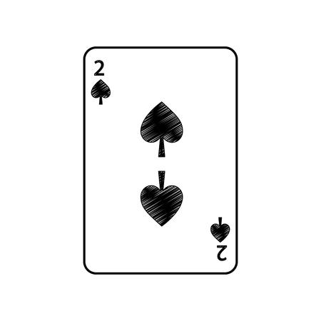 twee van schoppen Franse speelkaarten gerelateerde pictogram pictogram afbeelding vector illustratie ontwerp