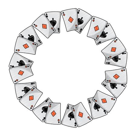Pikdiamanten passt französische Spielkarten im Kreisikonenbildbild-Vektorillustrationsdesign Standard-Bild - 90165612