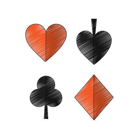 suits diamond pike spade tile clover clubs hearts french playing cards related icon icon image vector illustration design Stock fotó - 90165616