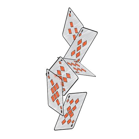 Fallende Diamanten passen französische Spielkarten in Verbindung stehendes Ikonenikonenbildvektor-Illustrationsdesign Standard-Bild - 90165618