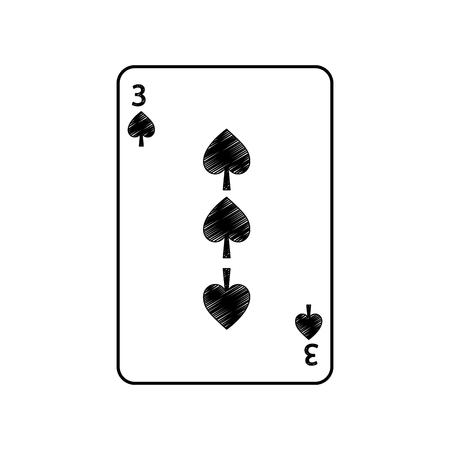 Drei von Spaten Französisch Spielkarten verwandte Symbol Bild Vektor Illustration Design Standard-Bild - 90165620