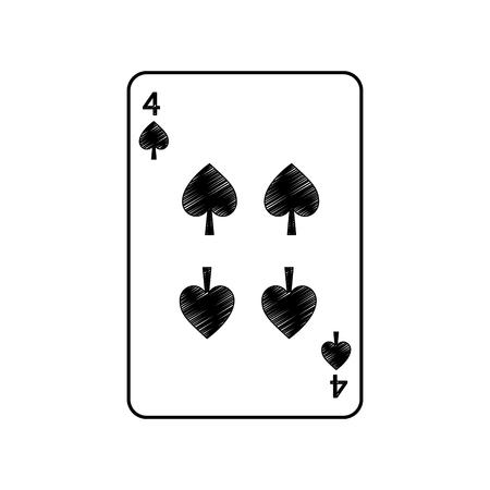 Vier von Spaten Französisch Spielkarten verwandte Symbol Bild Vektor Illustration Design Standard-Bild - 90165623