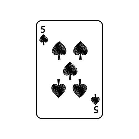Fünf der französischen Spielkarten der Spaten bezogen sich Ikonenikonenbildvektor-Illustrationsdesign Standard-Bild - 90165625
