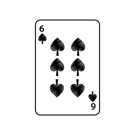 six of spades french playing cards related icon icon image vector illustration design  Ilustração