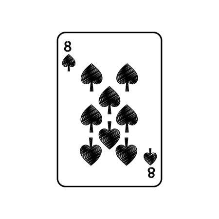 Acht der französischen Spielkarten des Spatens bezogen sich Ikonenikonenbildvektor-Illustrationsdesign Standard-Bild - 90165632