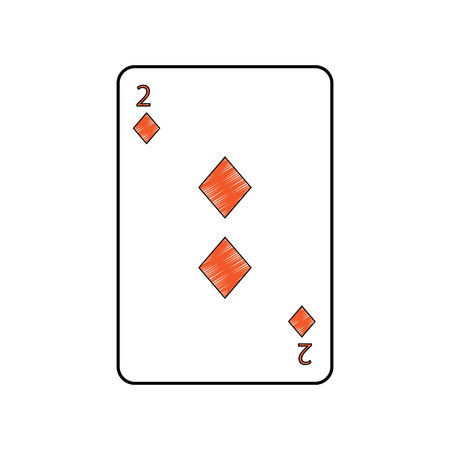 two of diamonds or tiles french playing cards related icon icon image vector illustration design