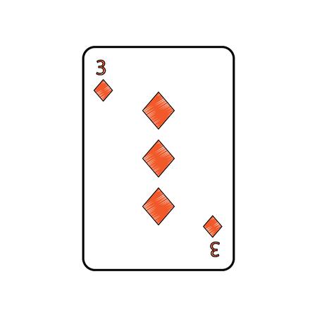 Trois des diamants ou des carreaux français cartes à jouer connexes icône icône image vecteur illustration design Banque d'images - 90166855