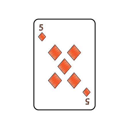 Cinq de diamants ou de carreaux français cartes à jouer connexes icône icône image vector illustration design Banque d'images - 90166857