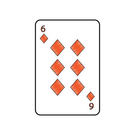 Sei delle carte da gioco francesi delle tessere o dei diamanti hanno collegato la progettazione dell'illustrazione di vettore di immagine dell'icona dell'icona Archivio Fotografico - 90166858