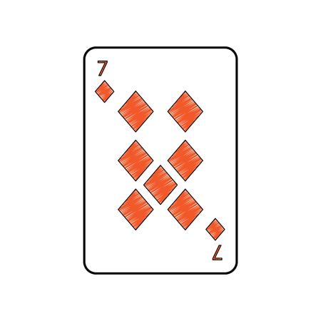 Sieben von Spielkarten der Diamanten oder der Spielkarten der Fliesen französischen bezog sich Ikonenikonenbildvektor-Illustrationsdesign Standard-Bild - 90166860