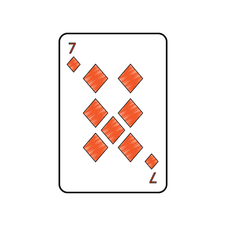 seven of diamonds or tiles french playing cards related icon icon image vector illustration design  Illustration