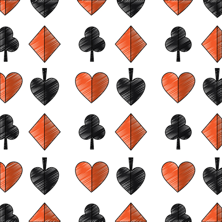 suits diamond pike spade tile clover clubs hearts french playing cards related icon icon image vector illustration design