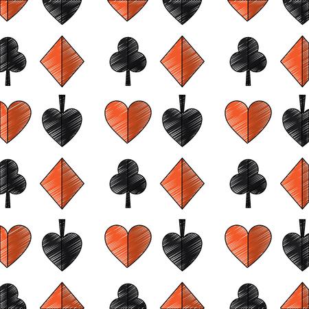 Si adatta a disegno di illustrazione di icone di immagine di vettore dell'icona dell'icona di carte da gioco di cuori di picche di luccio di diamante Archivio Fotografico - 90166930