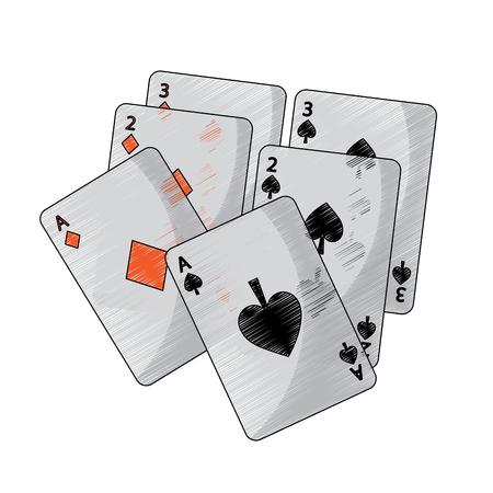 Spaten Diamanten Anzüge Französisch Spielkarten Symbol Symbol Bild Vektor Illustration Design Standard-Bild - 90166942