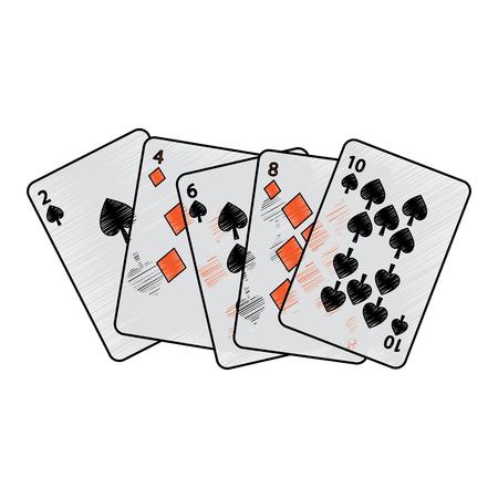 Spaten Diamanten passt französisches Spielkarten in Verbindung stehendes Ikonenikonenbildvektor-Illustrationsdesign Standard-Bild - 90170680