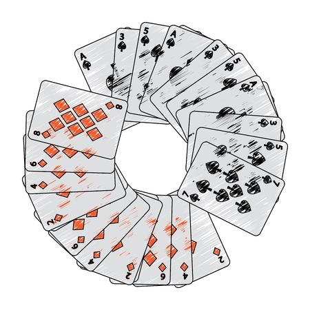 Pikdiamanten passt französische Spielkarten im Kreisikonenbildbild-Vektorillustrationsdesign Standard-Bild - 90166968