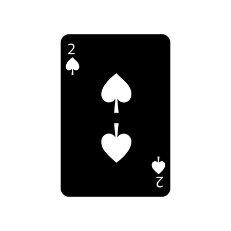 two of spades french playing cards related icon icon image vector illustration design  black and white