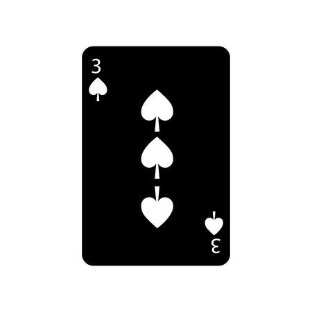 スペードの 3 はフランスのトランプ関連アイコン アイコン画像ベクトル イラスト デザイン黒と白
