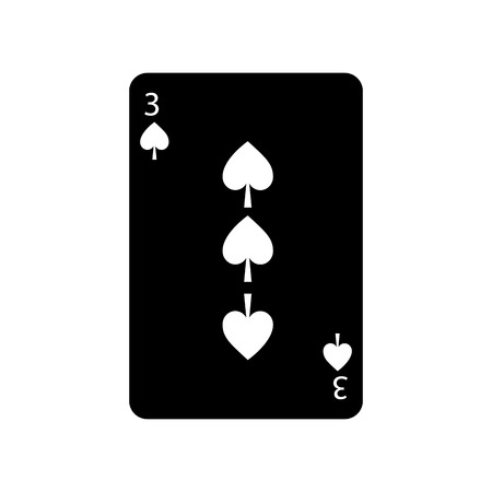 three of spades french playing cards related icon icon image vector illustration design  black and white