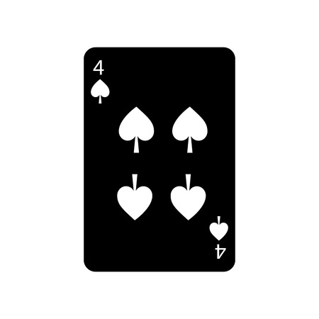 four of spades french playing cards related icon icon image vector illustration design  black and white