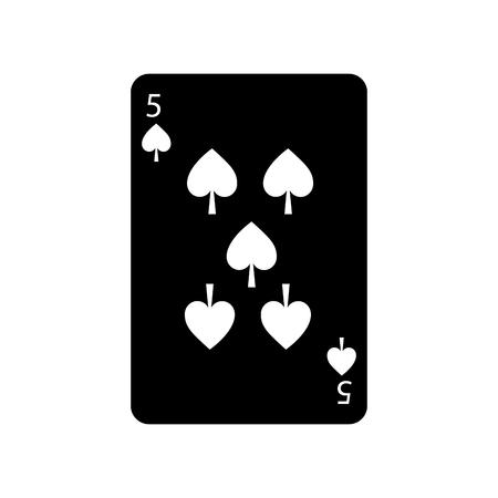Fünf von Spaten Französisch Spielkarten verwandte Symbol Bild Vektor-Illustration Design schwarz und weiß Standard-Bild - 90166973