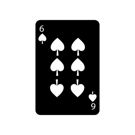 six of spades french playing cards related icon icon image vector illustration design  black and white Illusztráció