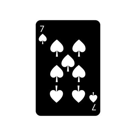 seven of spades french playing cards related icon icon image vector illustration design  black and white Illustration