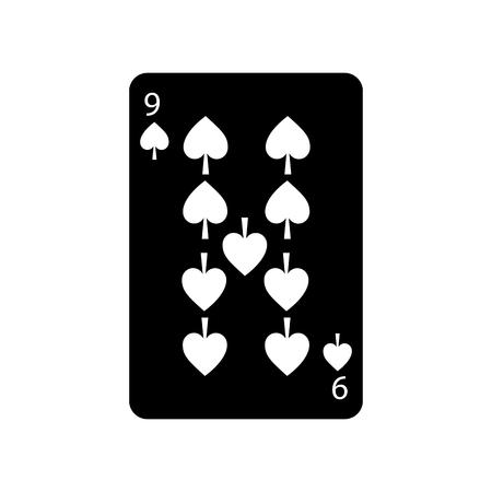Neun von Spaten Französisch Spielkarten verwandte Symbol Bild Vektor-Illustration Design schwarz und weiß Standard-Bild - 90166977