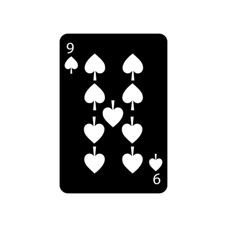 nine of spades french playing cards related icon icon image vector illustration design  black and white Illustration