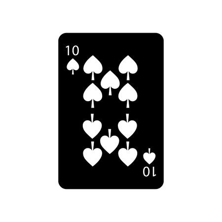 スペードの 10 のフランスのトランプ関連アイコン アイコン画像ベクトル イラスト デザイン黒と白