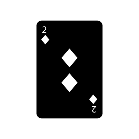 two of diamonds or tiles french playing cards related icon icon image vector illustration design  black and white