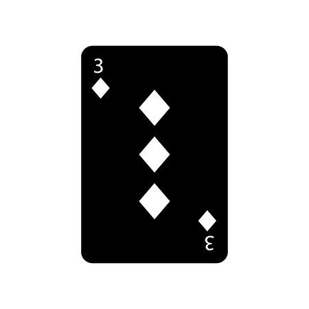 three of diamonds or tiles french playing cards related icon icon image vector illustration design  black and white