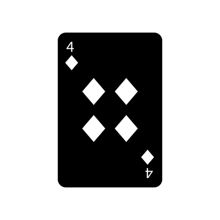four of diamonds or tiles french playing cards related icon icon image vector illustration design  black and white