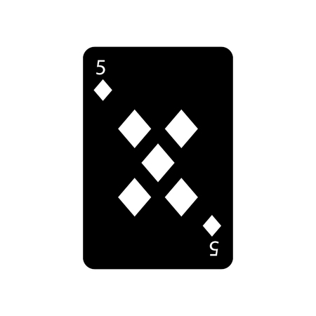 five of diamonds or tiles french playing cards related icon icon image vector illustration design  black and white Ilustração