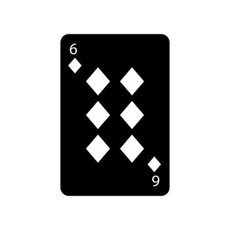 Sechs der französischen Spielkarten der Diamanten oder der Fliesen bezogen sich Ikonenikonenbildvektor-Illustrationsdesign Schwarzweiss Standard-Bild - 90167008