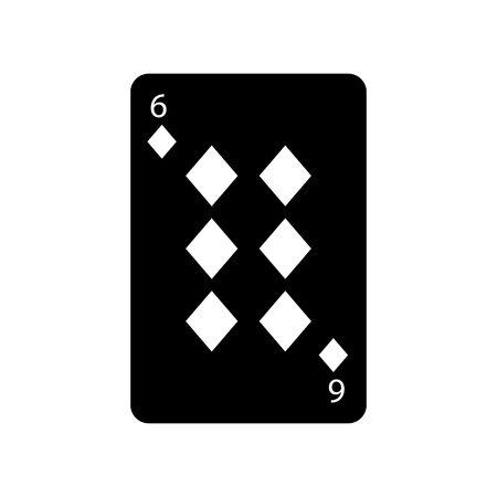 six of diamonds or tiles french playing cards related icon icon image vector illustration design  black and white