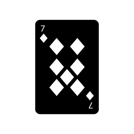 seven of diamonds or tiles french playing cards related icon icon image vector illustration design  black and white