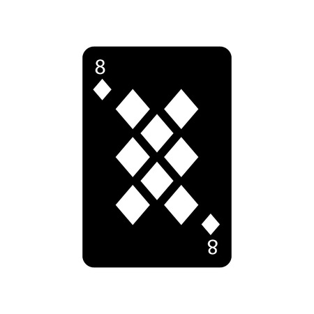 eight of diamonds or tiles french playing cards related icon icon image vector illustration design  black and white