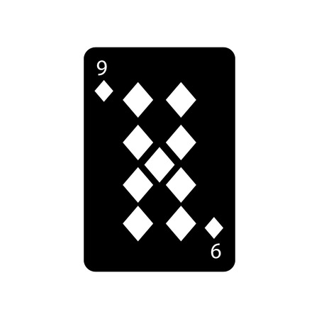 nine of diamonds or tiles french playing cards related icon icon image vector illustration design  black and white