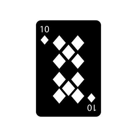 ten of diamonds or tiles french playing cards related icon icon image vector illustration design  black and white Ilustrace