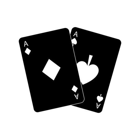Dos ases jugando a las cartas ilustración de vector de icono de casino de póker Foto de archivo - 90167181