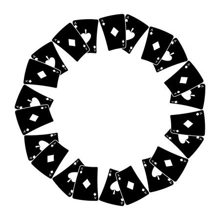 Tarjeta de poker ases forma redonda jugando ilustración vectorial de diseño Foto de archivo - 90167187