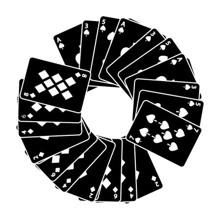 火かき棒カードのスペードとダイヤモンド デッキ ベクトル イラストで円形フレーム