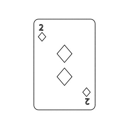 two of diamond poker card casino icon vector illustration