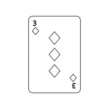 three of diamonds playing card theme casino vector illustration Illustration