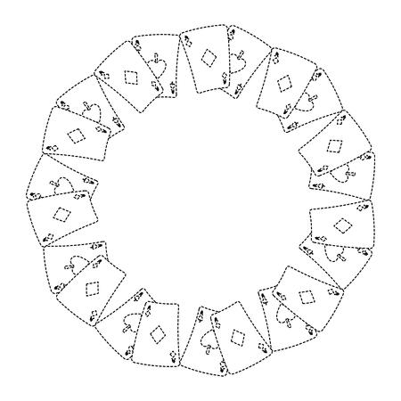 Tarjeta de poker ases forma redonda jugando ilustración vectorial de diseño Foto de archivo - 90167559