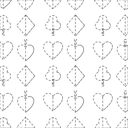 카드와 함께 완벽 한 포커 패턴 정장 카지노 질감 벡터 일러스트 레이 션