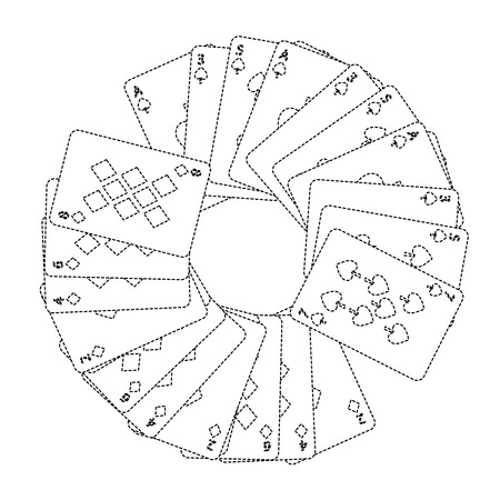 Carte di carte francesi dei vestiti delle figure dei diamanti delle forcelle nella progettazione dell'illustrazione di vettore di immagine dell'icona dell'icona del cerchio Archivio Fotografico - 90167725