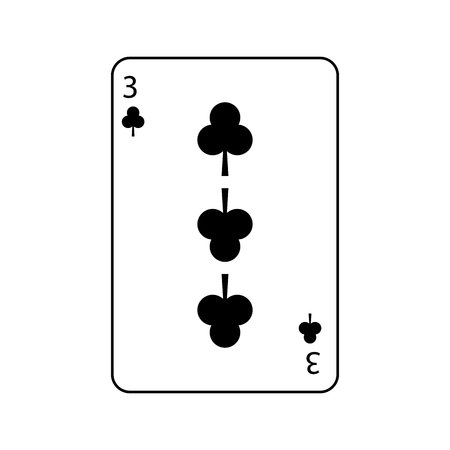 three of clover or clubs french playing cards related icon image vector illustration design